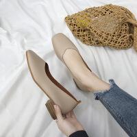 春秋新款韩版粗跟单鞋女浅口方头复古奶奶鞋学生懒人鞋中跟小皮鞋