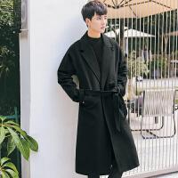 秋冬款韩版宽松男士 长款过膝风衣外套英伦青年潮男系带毛呢大衣