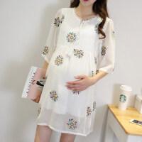18夏季新品薄款孕妇裙短袖V领雪纺连衣裙子夏装潮妈孕妇装打底裙 白色-有内衬
