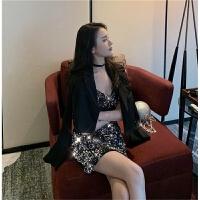 韩风气质V领亮片女神吊带裙包臀修身连衣裙+短款西装外套女