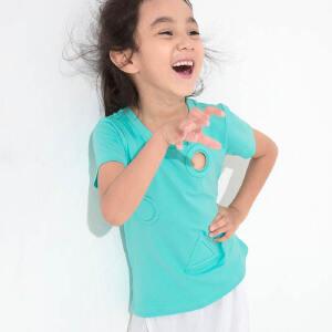 【下单立享5折】amii童装夏季新款女童短袖T恤中小童几何镂空纯色圆领棉质上衣