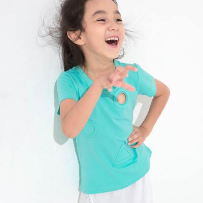 AMII童装夏季新款女童短袖T恤中小童几何镂空纯色圆领棉质上衣