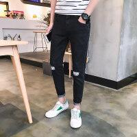 春秋季新款牛仔裤男韩版潮流修身弹力小脚裤男士黑色直筒长裤子