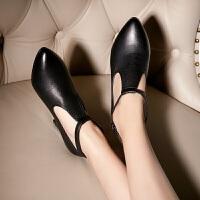 娜箐箐韩版头层牛皮尖头中跟鞋真皮女鞋工作鞋女单鞋