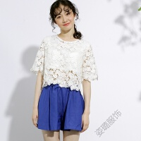 花镂空花朵上衣刺绣蕾丝高腰短袖短款T恤女罩衫宽松大码短袖汗衫 白色