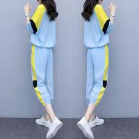 2019夏季韩版女装大码两件套裤拼接宽松时尚显瘦休闲运动套装 M 80-95斤