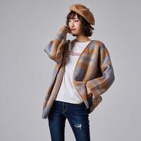 【2件2.5折】唐狮冬新款女针织衫毛衣宽松花纹青春小清新毛衫短