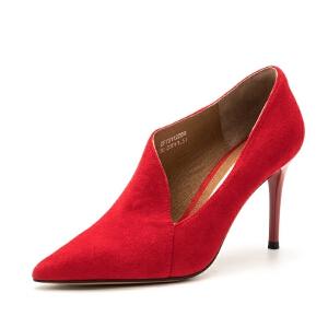 D:Fuse/迪芙斯羊反绒尖头高跟不规则女单鞋DF73112059