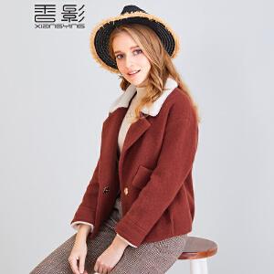 香影毛呢外套女短款 2017冬装新款西装领一粒扣呢大衣休闲夹克潮+