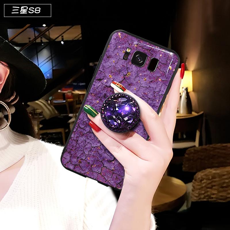 三星s8手机壳女紫色大理石纹s8plus保护套s8+全包防摔galaxy s8+plus S8 紫大理石纹+钻