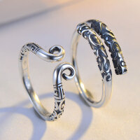 情侣戒指一对戒子学生刻字戒指男女紧箍咒金箍棒复古