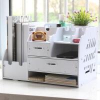 桌面收纳盒 带抽屉化妆品盒大号桌面办公资料架文件架