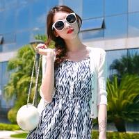 夏季薄款女开衫短款针织衫七分袖短外套外搭披肩沙滩防晒衣空调衫 白色 七分袖 均码