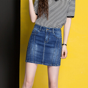 Modern idea女式牛仔裙魅力百搭短裙2017时尚夏季韩范修身裙子
