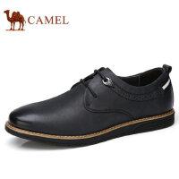 camel 骆驼男鞋秋季新品复古磨砂牛皮日常休闲系带男皮鞋