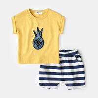 宝宝夏装男0一1岁婴儿衣服潮款短袖套装夏新生儿两件套纯棉夏季女