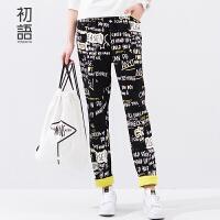 初语 春季新品 字母涂鸦印花橡筋宽松休闲裤卫衣裤女 8611901013