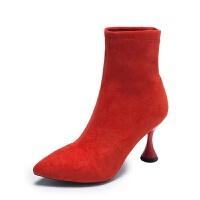 鞋子女冬2018新款马丁靴女弹力瘦瘦靴百搭尖头高跟中筒靴细跟短靴
