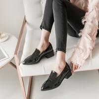 201909230743359152019春秋季新款单鞋女粗跟小皮鞋女漆皮尖头百搭英伦风工作女鞋