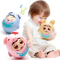 婴儿玩具不倒翁 牙胶摇铃手抓咬儿童宝宝益智力