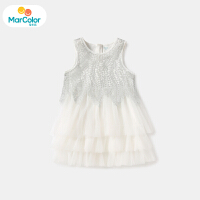 【1件2折】马卡乐童装22夏季新款女宝宝银丝闪亮重工无袖网纱蛋糕裙