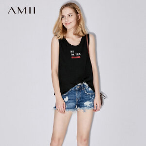 【大牌清仓 5折起】Amii[极简主义]夏装2017新款女圆领字母印花大码百搭背心11721670