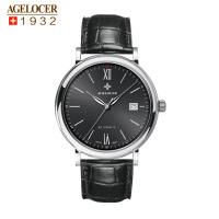 agelocer艾戈勒 瑞士进口品牌手表 复古商务男士手表防水皮带手表轻薄机械表男表