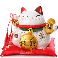 招财猫摆件开业 大小号陶瓷存钱储蓄罐店铺礼品摇手发财猫