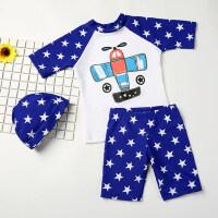 新款儿童三件套泳衣 婴儿宝宝泳帽泳裤时尚套装 男童分体中大童速干卡通游泳衣