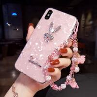 苹果手机壳女款iphone6splus奢华水钻8网红7保护壳潮XR韩 xs max粉贝壳+兔子+手拎绳