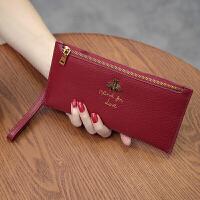 韩版长款女士钱包皮多功能皮夹头层牛皮简约拉链手拿包钱夹