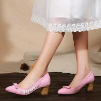 原创2018春季新款老北京布鞋绣花鞋浅口粗跟女单鞋绒面高跟民族风女鞋GH066 粉红色