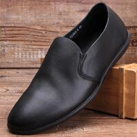 头层牛皮男鞋商务正装男士皮鞋真皮套脚韩版休闲鞋软底软皮单鞋潮 黑色