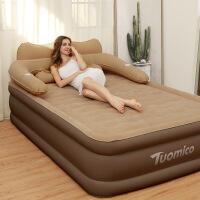充气床垫双人家用 户外气垫床单人加大折叠便携床懒人充气床 咖啡色 充气泵 152*203*48