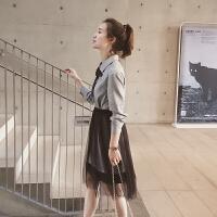 格子连衣裙中长款女装春装流行网纱半身裙两件套裙子潮2018新品 灰色格子+黑色