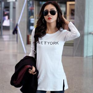 春秋新款女装韩版白色中长款印花长袖女t恤纯棉打底衫上衣体恤WK0158