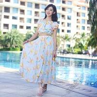 夏连衣裙荷叶边波西米亚大摆中长款半身裙海边度假沙滩裙两件套装 水蓝色