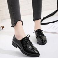 春秋季时尚亮面漆皮尖头单鞋中跟粗跟欧美英伦女鞋单鞋系带小皮鞋