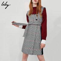【25折到手价:179.75元】 Lily春新款女装经典粗呢格纹高腰系带口袋背带裙118359C7942