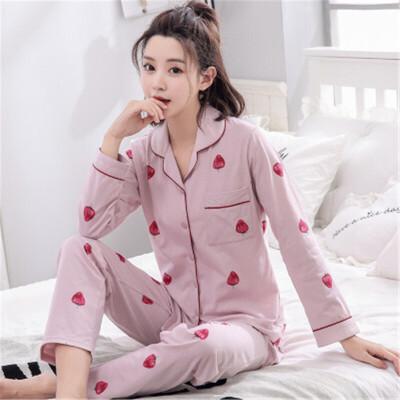 茉蒂菲莉 春秋季睡衣女纯棉长袖开衫翻领韩版家居服中老年女士长裤套装支持礼品卡