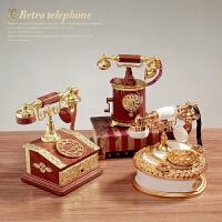复古怀旧拨盘式电话座机发条八音盒创意摆件电话音乐盒居家装饰品