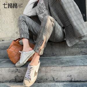 七格格格子休闲裤2019新款春季长裤女韩版灯笼裤英伦复古百搭裤子