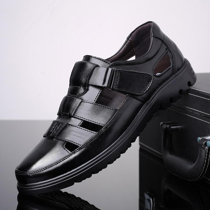 夏季真皮包头凉鞋男中年防滑透气男士镂空皮鞋中老年爸爸鞋洞洞鞋
