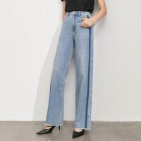 Amii极简毛边开叉撞色棉质牛仔长裤女2021夏季新款直筒休闲裤子