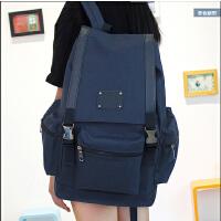 简约纯色韩版双肩包女休闲旅行背包男学院风潮流中学生书包电脑包