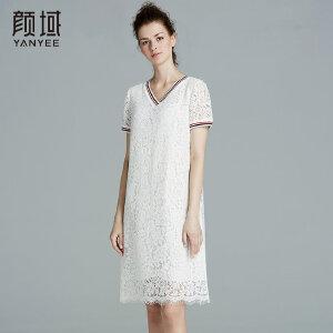 颜域品牌女装2017夏季新款简约V领短袖直筒镂空百搭蕾丝连衣裙女