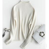 №【2019新款】冬天美女穿的加厚半高领羊绒衫女套头毛衣短款打底修身纯色衫