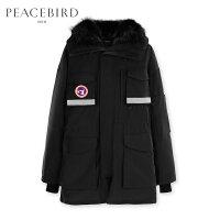 太平鸟男装 冬季新款冬季黑色连帽毛领羽绒服派克工装宽松外套潮