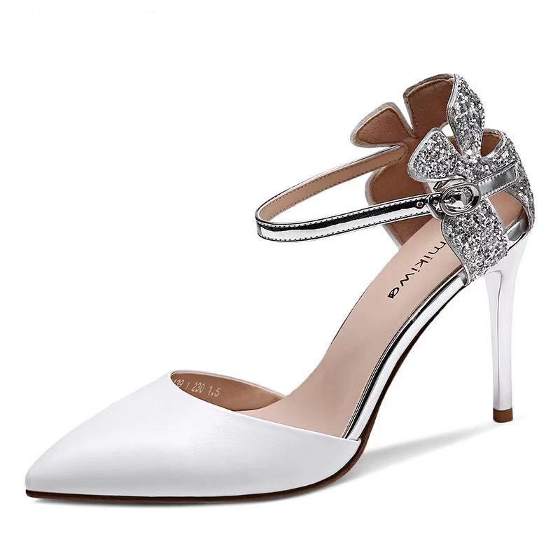 舒适好看!时尚新品凉鞋女一字带扣2019夏季新款白色包头仙女细跟性感亮片尖头高跟鞋青春靓丽 白色 8厘米