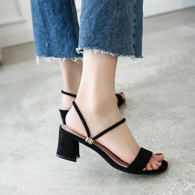 同款凉鞋一字带凉鞋女2019夏季新款粗跟两穿凉拖中跟仙女百搭罗马高跟女鞋